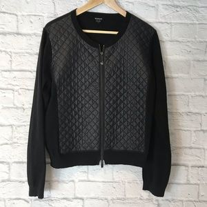 Worth Jacket Sweater Knit/Quilted Contrast. NWOT
